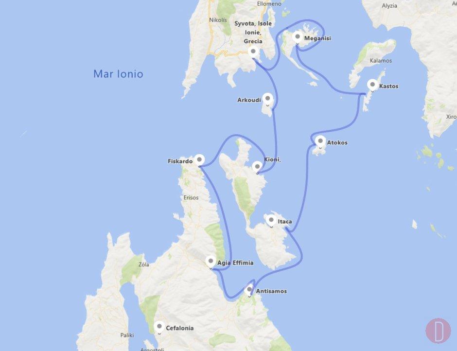 Cefalonia cruise map